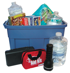 Picture of storage bin with emergency supplies