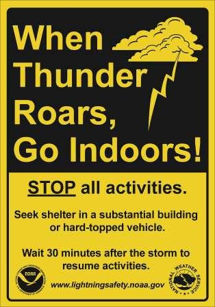 Graphic of cloud and a lightning bolt. When Thunder Roars Go Indoors! Stop all activities. Seek shelter in a substantial building or hard-topped vehicle, Wait 30 minutes after the storm to resume activities. www.lightningsafety.noaa.gov