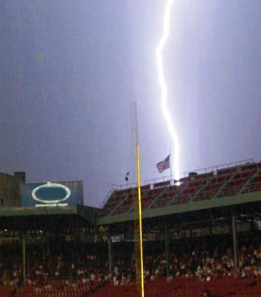 Graphic showing a lightning strike in a stadium