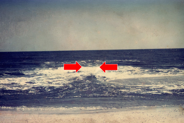 Graphic showing a Rip Current in the water