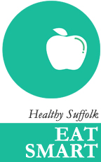 Logo: apple in a circle with the words healthy suffolk eat smart