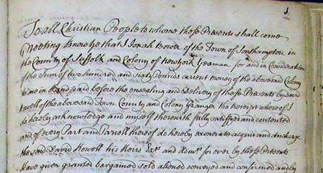 Recorded Mortgage in the County of Suffolk, Colony of New York circa 1700's